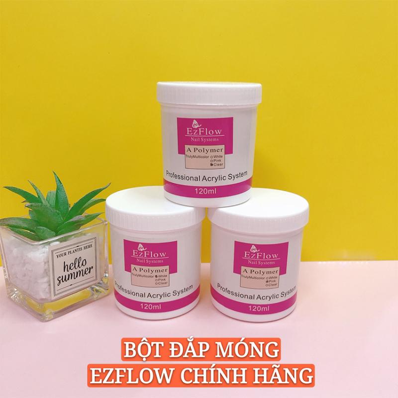 [HCM]Bột đắp móng Ezflow 120ml chính hãng rất mịn và dẻo không bị vón cục - Polymer Nail Powder đủ 3 màu white pink clear giá rẻ