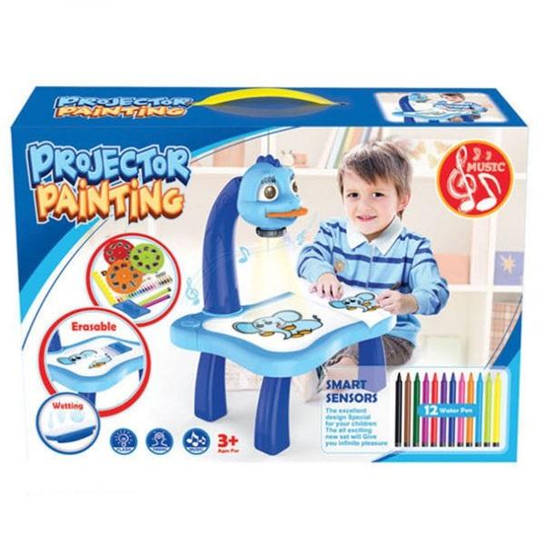 Bàn học mini để bàn kiêm đèn chiếu hình 24 mẫu khác nhau cho trẻ em học vẽ tranh tô màu - Bộ dụng cụ cho bé trai và bé gái tập vẽ tranh tại nhà chất liệu bằng nhựa cứng cao cấp, thiết kế đẹp mang tính thẩm mỹ cao