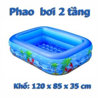 Bể bơi phao bơi chữ nhật 1M2 2 tầng cho bé, bể bơi bơm phao mini cho bé, phao bơi mini bơm hơi siêu tiện ích, có thể dễ dàng gấp gọn thumbnail