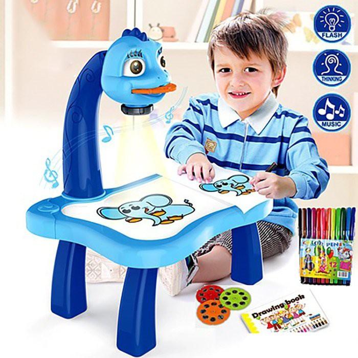 Bộ bàn tập vẽ có đèn chiếu 24 hình có nhạc thông minh tặng kèm hộp bút 12 màu-Bộ bàn đèn chiếu tập vẽ cho bé-Bộ bàn đèn tập vẽ cho bé-Đèn bàn máy chiếu cho bé tập vẽ