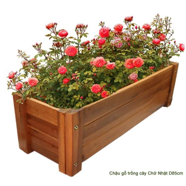 Chậu gỗ trồng cây Chữ nhật chịu nước tốt D85xR30xC30cm TẶNG KÈM CHỈA LÀM VƯỜN HỢP KIM KHÔNG GỈ