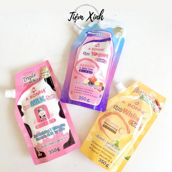 Muối tắm sữa bò A Bonné Spa Milk Salt 350g Thái Lan Muối tẩy tế bào chết tinh chất Yougrt, Vitamin C và Sữa Bò giúp trắng da, sáng mịn giá rẻ
