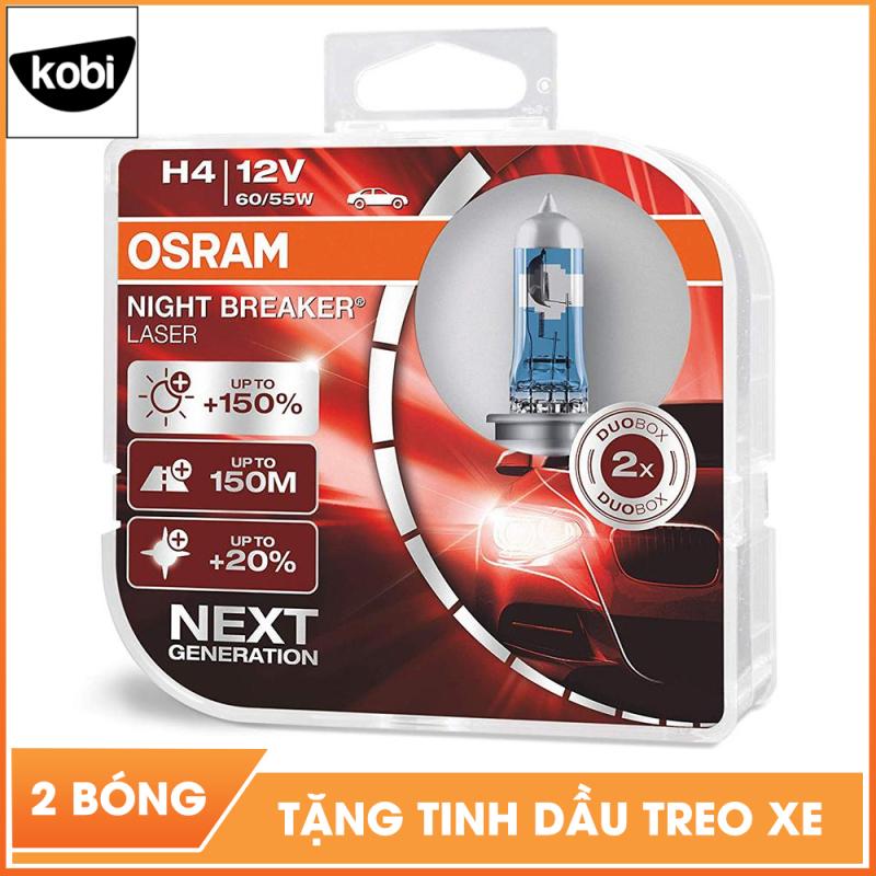 Bóng đèn osram night breaker laser H4 12V 60/55W siêu sáng dùng cho pha cos ô tô và xe máy, tăng sáng 150%, ánh sáng pha tới 150m, ánh sáng trắng hơn 20%