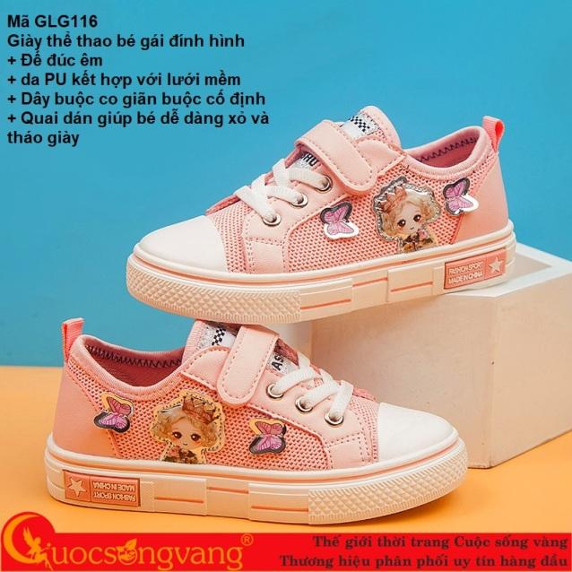Giày thể thao bé gái quai dán giày bé gái thể thao đính hình GLG116 giá rẻ
