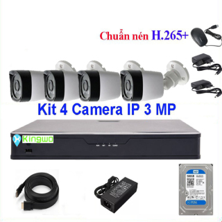 Trọn bộ camera 4 mắt - trọn bộ 4 camera-Bộ KIT 4 camera IP (4 Thân) 3.0MP KingWo - Có ổ cứng 500G, chống nước-Bảo hành 2 năm 1 đổi 1-Bộ 4 Camera Hikvision - Trọn bộ 4 mắt camera - Trọn bộ camera giám sát 4 mắt - Phụ kiện đầy đủ thumbnail