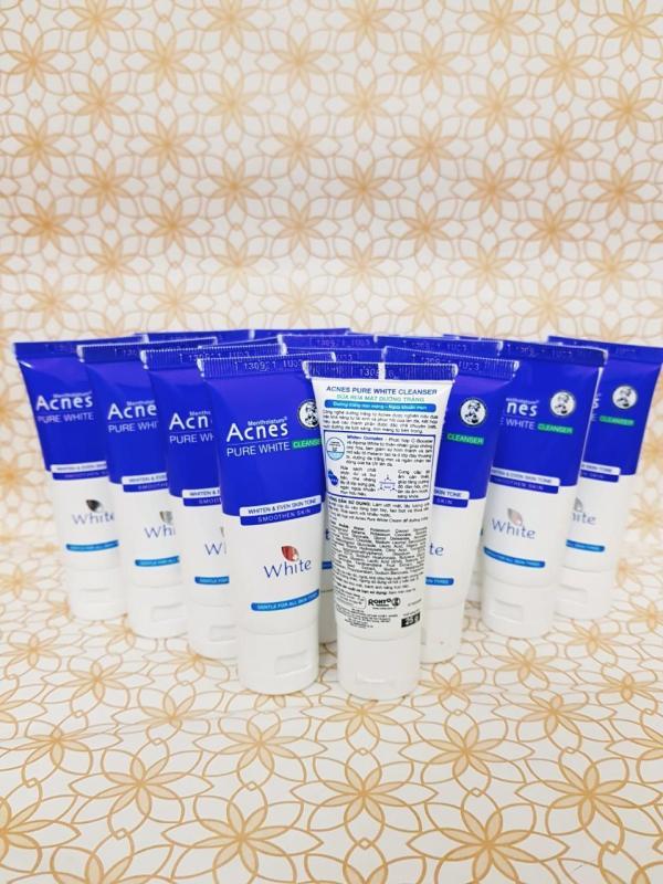 Combo 10 Sữa rửa mặt dưỡng trắng da Acnes Pure White Cleanser (25g) - Tặng 1 ví cầm tay xinh xắn nhập khẩu