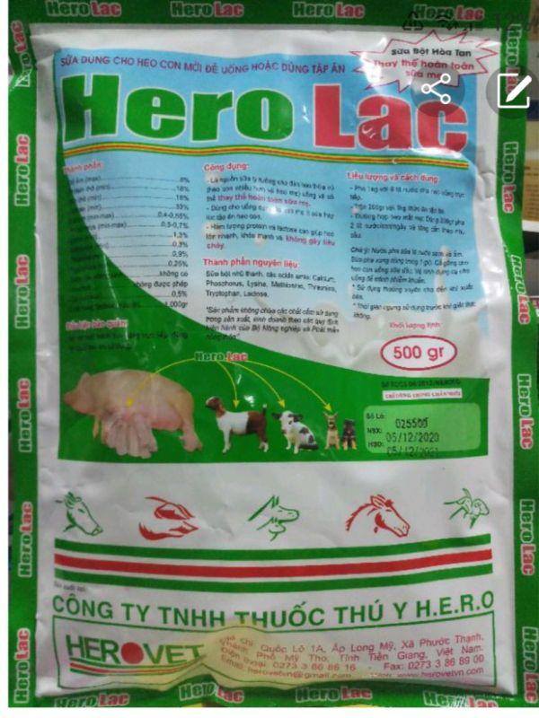 Hero Lac gói 500 gram sữa cho heo con mới đẻ hoặc dùng tập ăn hsd 29/01/2022