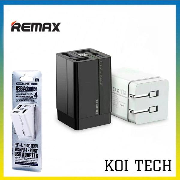 Củ sạc nhanh 4 cổng remax rp u43 3.5a - Cốc sạc nhanh chống cháy nổ - Koi Tech