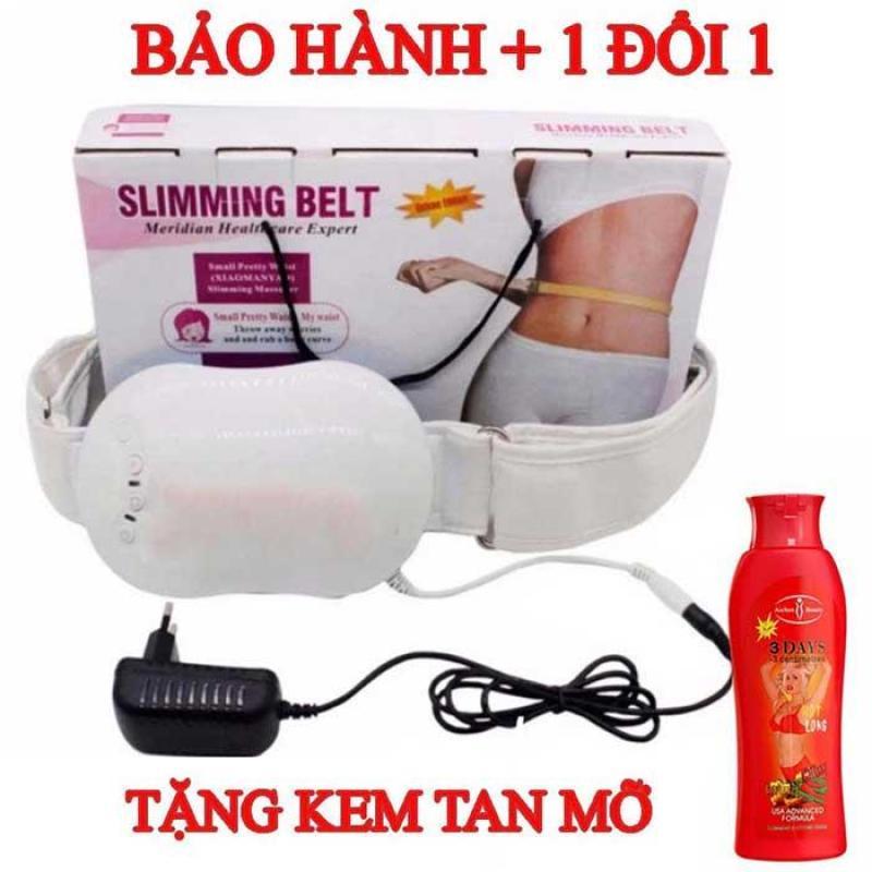 Máy Mát Xa Lưng Cổ, Đai Quấn Bụng Slimming Belt, Đai Máy tập cơ bụng TẶNG KEM TAN MỠ