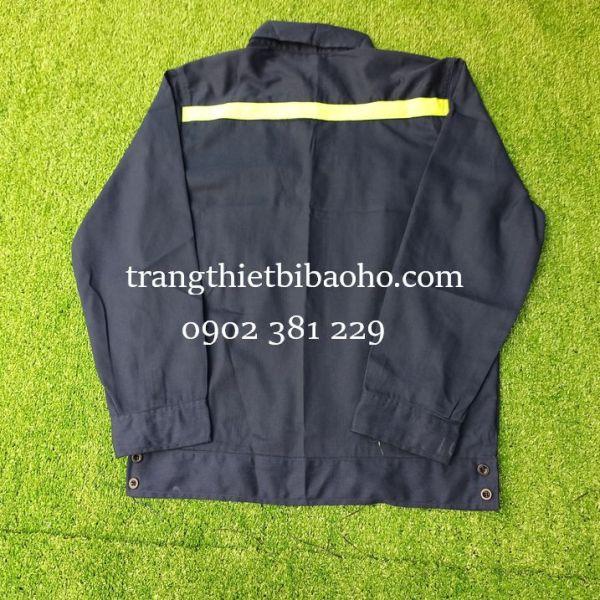 Áo đồng phục công nhân, kỹ sư vải kaki Nam Định phối phản quang màu tím than - ADN09PQ