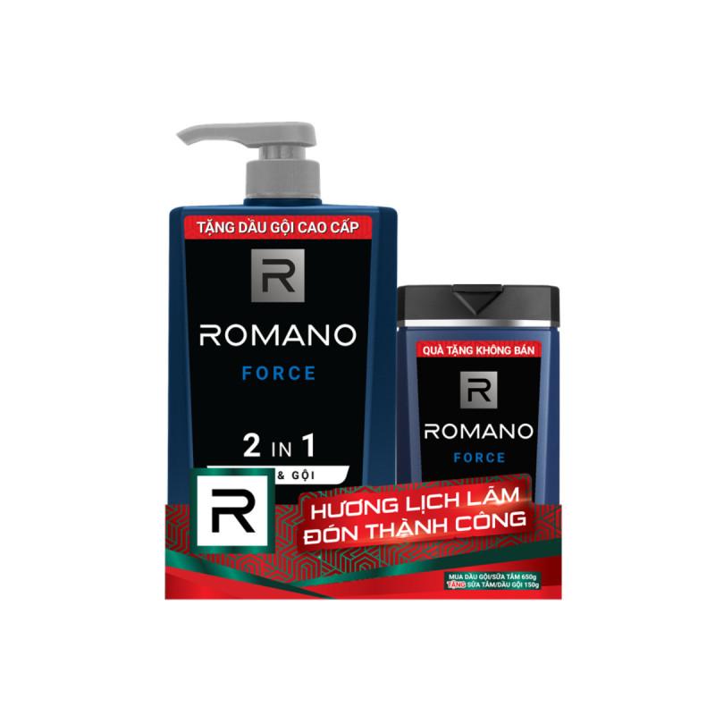 Tắm & gội ROMANO CLASSIC 2 IN 1 650ml -tặng tắm gội 150ml