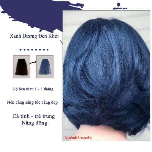 Thuốc nhuộm tóc màu Xanh Dương Đen Khói màu nhuộm lên chuẩn màu kem nhuộm an toàn không sót kem nhuộm mùi thơm
