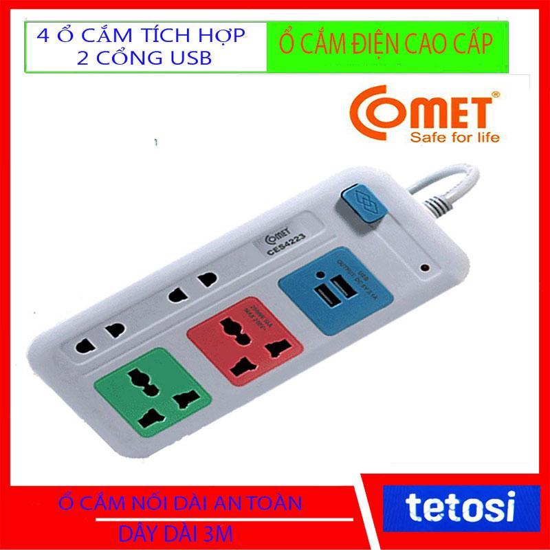 Ổ Cắm Điện Đa Năng gồm 4 Ổ Cắm Và 2 Nguồn USB, an toàn, ổn định, tiện lợi, ổ cắm điện đa năng, ổ cắm điện thông minh, ổ cắm điện usb, ổ cắm điện nhiều lỗ, ổ cắm điện cao cấp, phích cắm điện đa năng, phích cắm điện