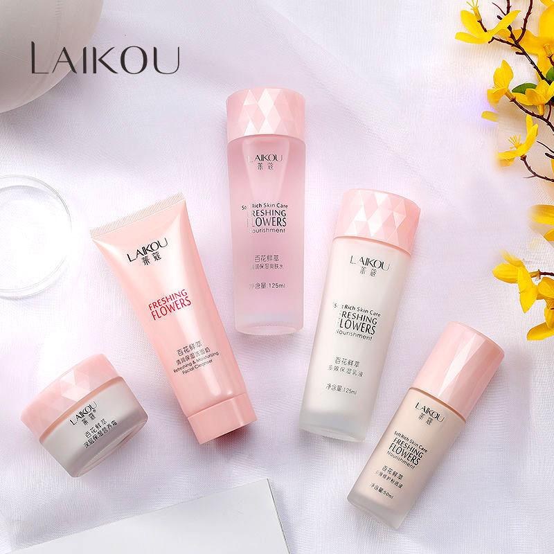 TAMIKO - Bộ chăm sóc da LAIKOU sáng mịn và trẻ hóa làn da Sữa rửa mặt + Nước cân bằng da + Sữa dưỡng ẩm + Kem dưỡng tái tạo da + Kem nền bộ dưỡng da TM-BM064