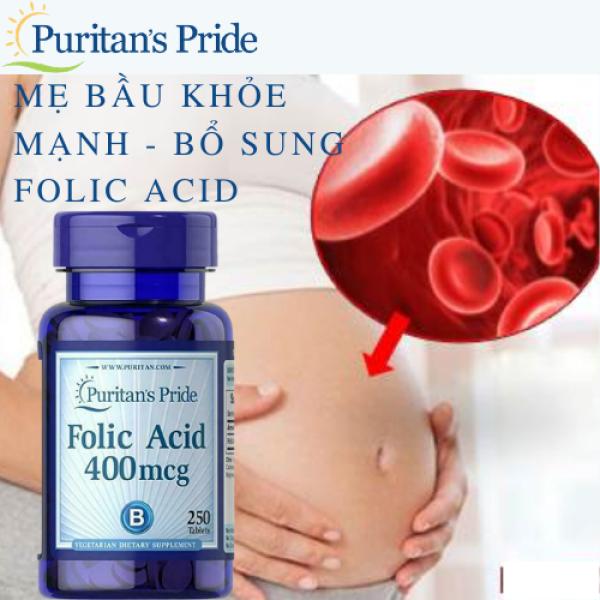 Ngăn ngừa thiếu máu cho phụ nữ đang mang thai và cho con bú Folic Acid 400 mcg Puritans Pride( HSD: 04/22)