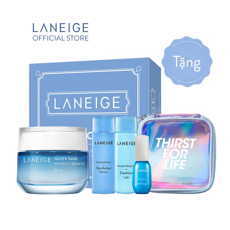Kem Dưỡng Ẩm Laneige Water Bank Hydro Cream 50ML (Da Dầu + Da Hỗn Hợp) Tặng bộ dưỡng ẩm và dưỡng Trắng Laneige giá rẻ
