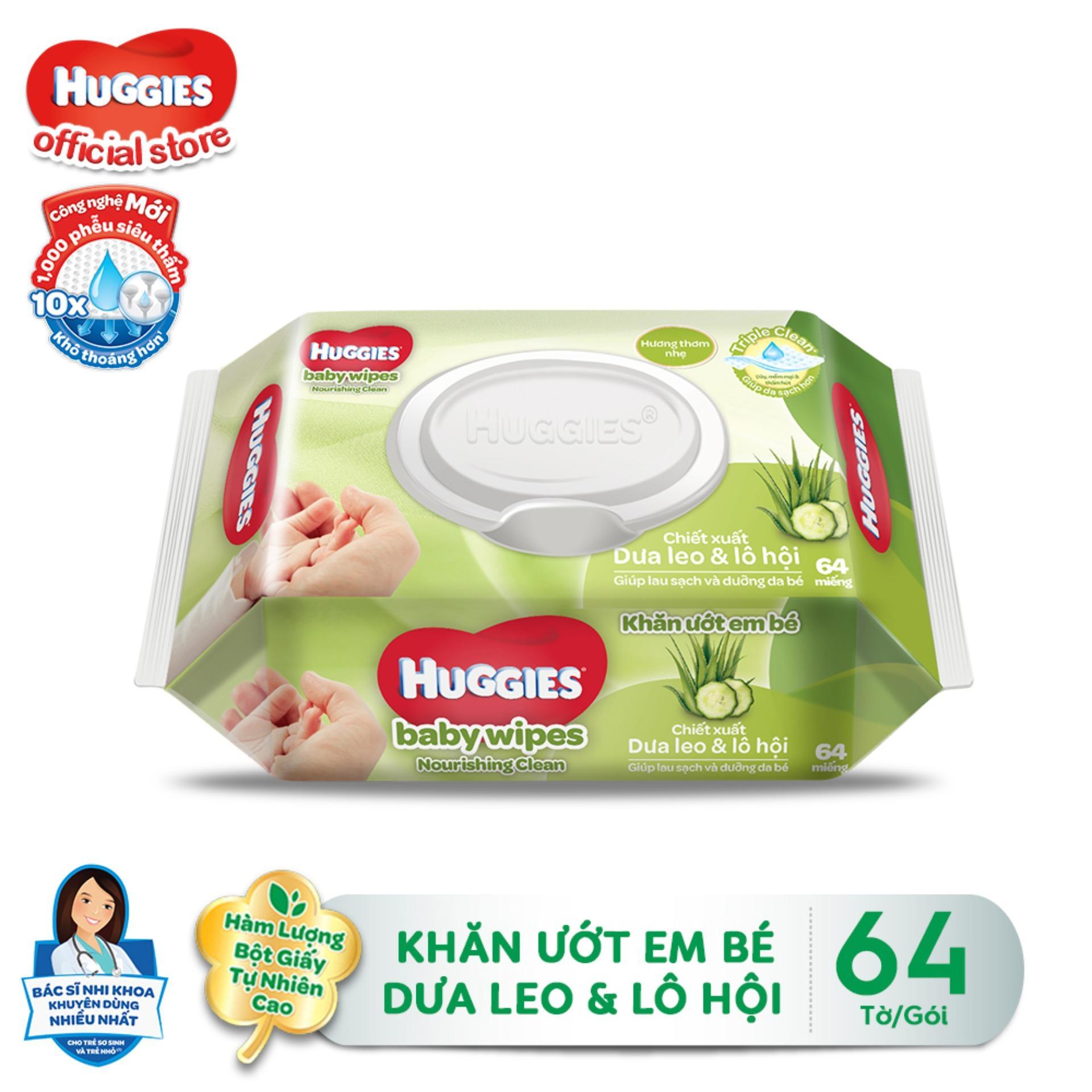 Khăn giấy ướt cho trẻ sơ sinh HUGGIES, gói 64...