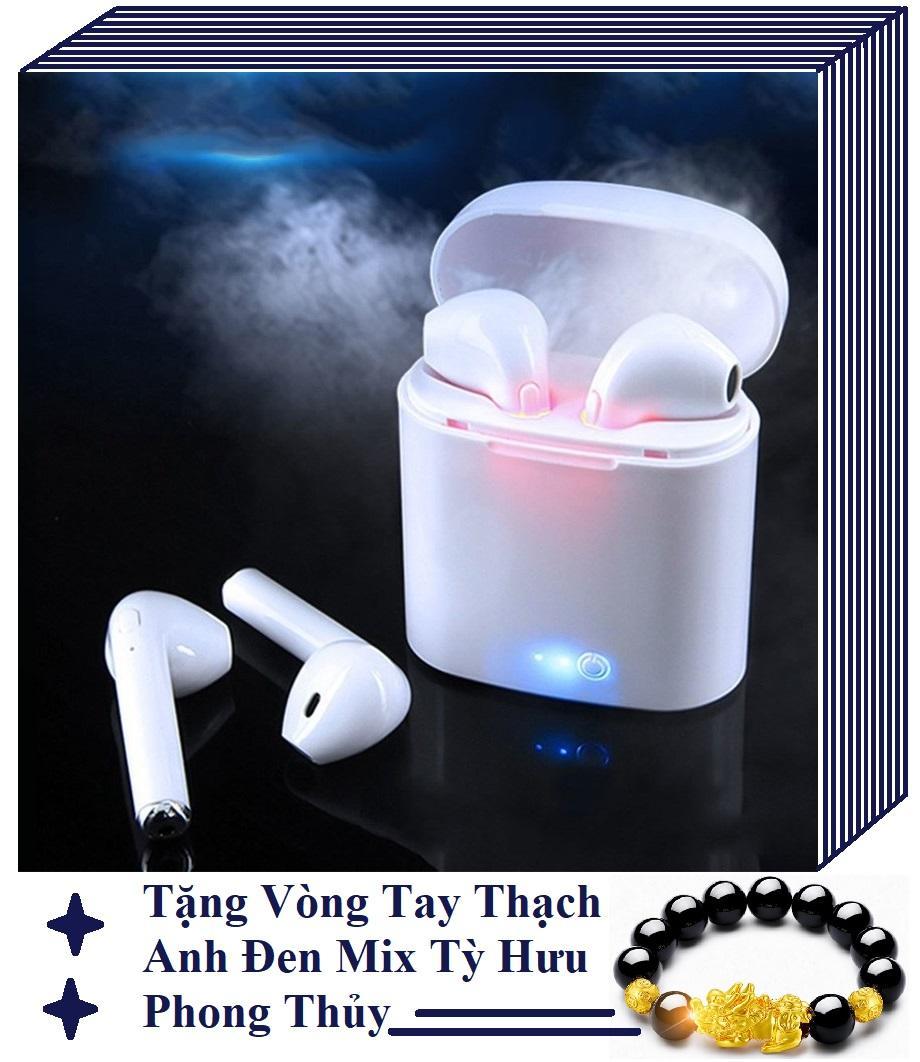 HÀNG FULLBOX - Bao Gồm Cả 2 Tai Phone - TẶNG VÒNG TỲ HƯU THẠCH ANH ĐEN PHONG THỦY TÀI LỘC - Tai Nghe Bluetooth Không Dây i7s