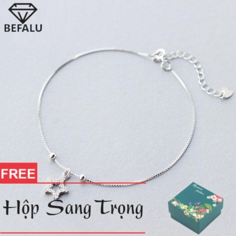 Lắc Chân Nữ Bạc S925 Phong Cách Hàn Quốc Sao Đính Đá LC02 Lắc Chân FREESIZE