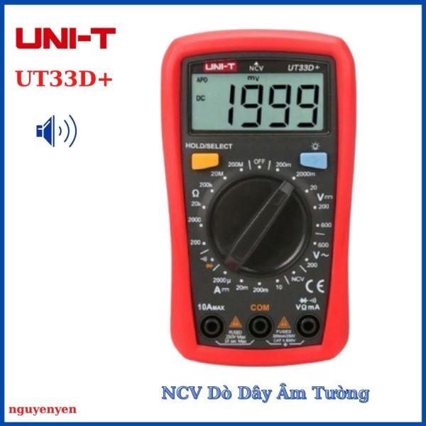Đồng Hồ Đo Vạn Năng Đa Năng VOM Điện Tử UNI-T UT33D+ kèm bộ que đo, có đèn màn hình, dò dây không tiếp xúc, độ chính xác cao