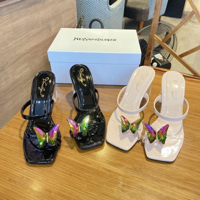 Dép nữ,dép dép xỏ ngón gót MEKA cao 7p,họa tiết cánh bướm mang lên chân cực xinh giá rẻ