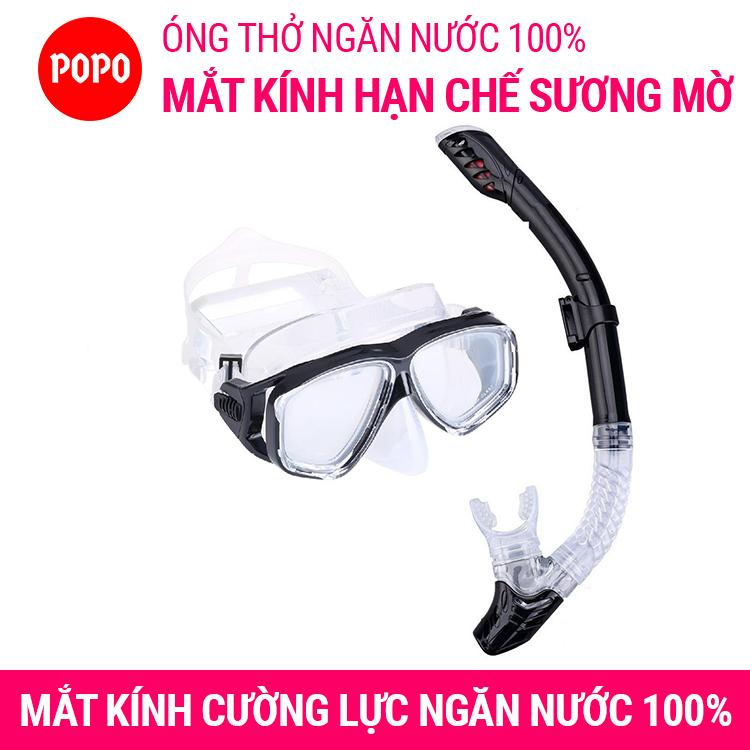 Bộ Kính Lặn Ống Thở, Mắt KÍNH CƯỜNG LỰC, ống Thở Ngăn Nước Cao Cấp POPO Collection Có Giá Rất Tốt