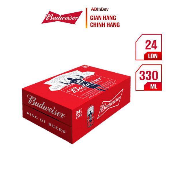 Thùng 24 lon bia Budweiser - phiên bản Messi (330ml/lon)