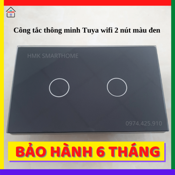 Công Tắc Thông Minh Tuya Wifi 2 Nút Bảo Hành 6 Tháng - HMK Smarthome