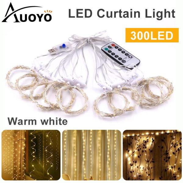 Auoyo Curtain String Lights 300 LEDs Window Curtain Fairy Lights Copper Wire Twinkle Star String Lights USB Remote Control 8 Modes Hanging Lights for Bedroom Decor Indoor Outdoor Wedding Light