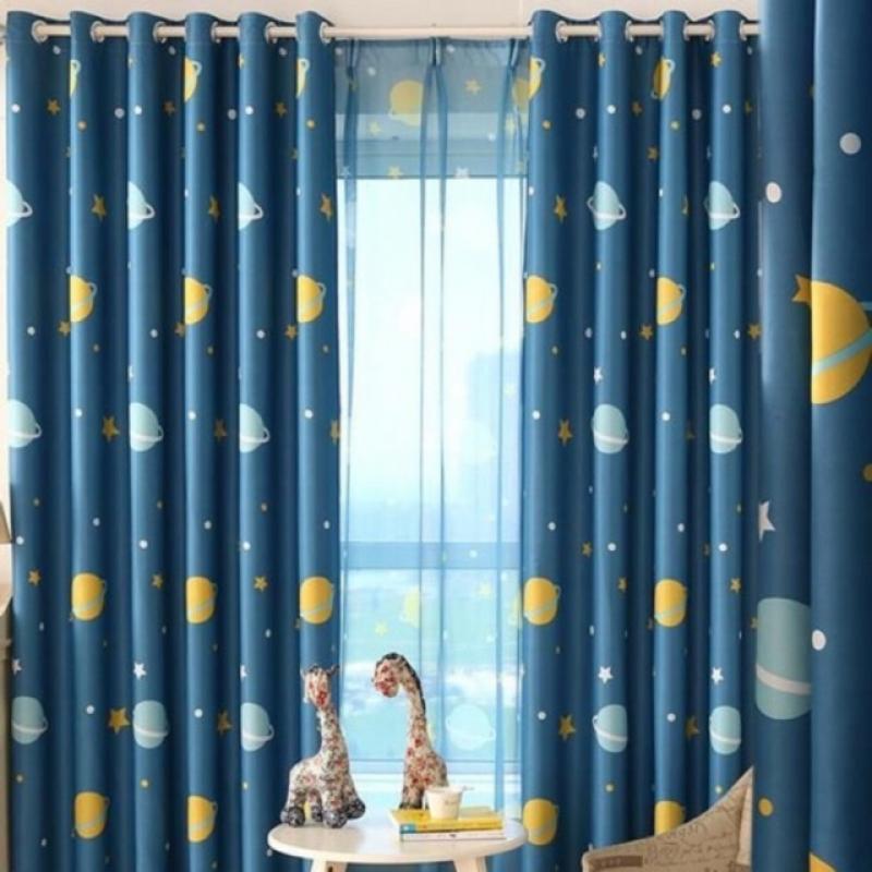 Rèm cửa sổ, cửa phòng ngủ chống nắng giá rẻ, hoạ tiết trái đất TNS-005