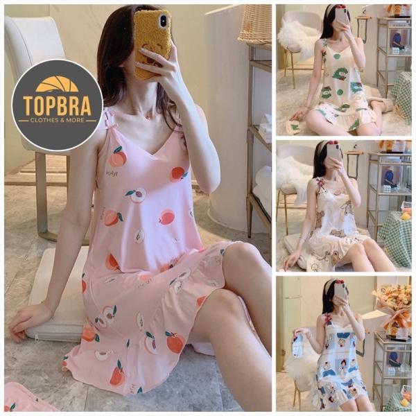 Nơi bán Váy Ngủ Hai Dây Đầm Ngủ Thun Sữa In Hoạ Tiết Mềm Mịn Có Đệm Ngực Đuôi Xếp Li (Tặng Kèm Bịt Mắt) TOPBRA