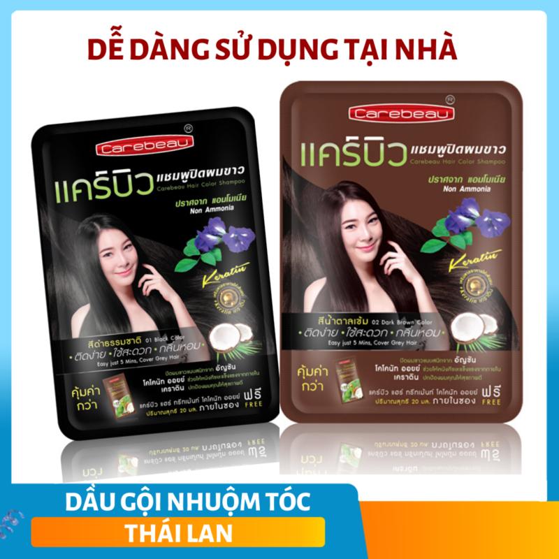 Dầu Gội Nhuộm Tóc Thảo Dược Carebeau Thái Lan, Màu Đen, Nâu đen 30gr nhập khẩu