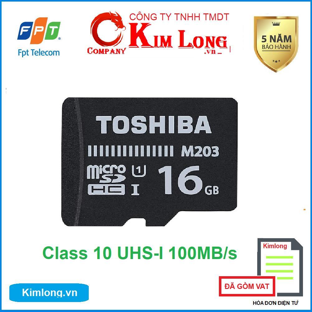 Thẻ nhớ Toshiba 16GB Micro SD Class 10 UHS-I 100MB/s hàng FPT