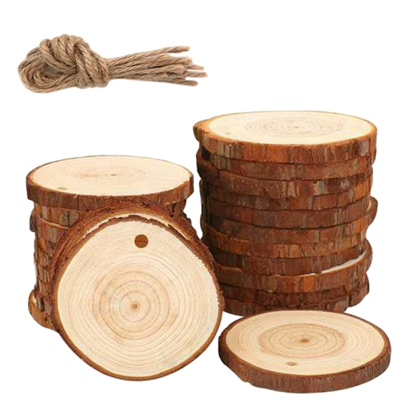 50Pcs Natural Wood Slices Craft Wood Kit Unfinished Predrilled with Hole Wooden Circles Great for Arts and Crafts Christmas Ornaments DIY Crafts