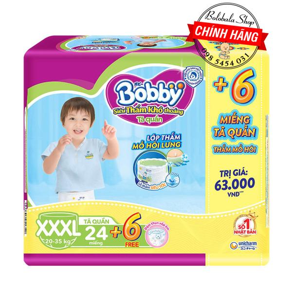 [TẶNG 6 MIẾNG] Tã Quần Bobby - Đệm Lưng Thấm Mồ Hôi XXXL24 miếng