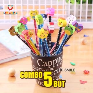 COMBO 5 BÚT chì kèm tẩy họa tiết hoạt hình ( hoa, quả, kẹo ngọt, động vật, hoa, lá ) ngộ nghĩnh dễ thương cho bé học vẽ, học viết thumbnail