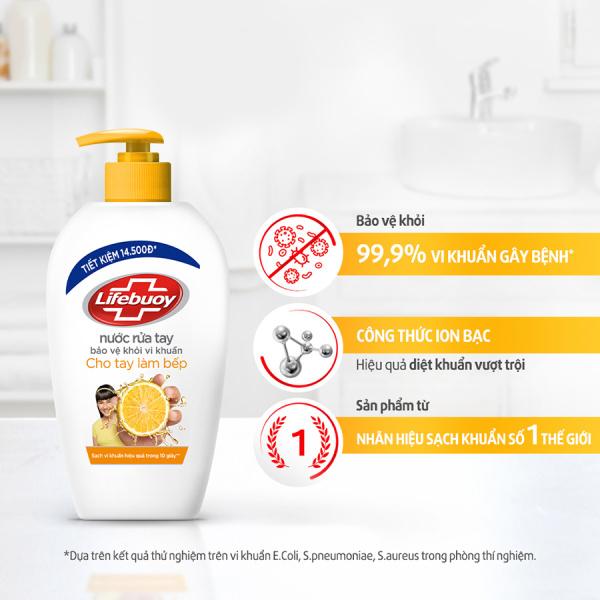 Nước rửa tay Lifebuoy cho tay làm bếp [ 500g] nước rửa tay lifebuoy, nước rửa tay chuyên dùng vệ sinh đôi bàn tay làm bếp  khử mùi sạch dầu mỡ và diệt khuẩn.