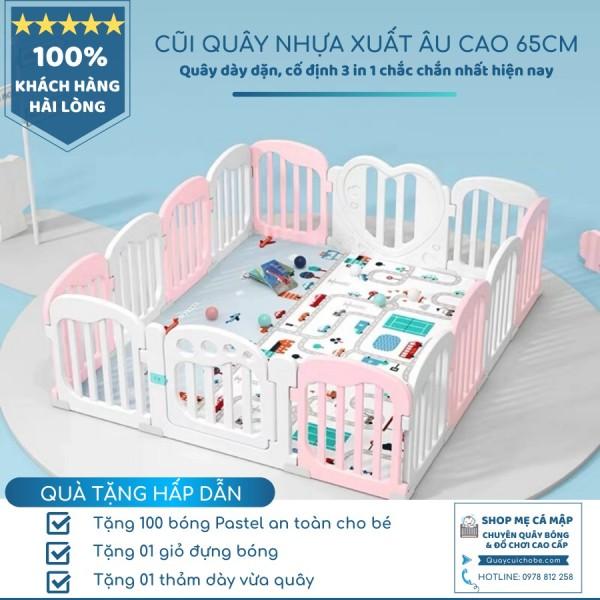 Quây cũi nhựa bé gái hồng trắng Bambi Kids, xuất Âu, hàng sẵn