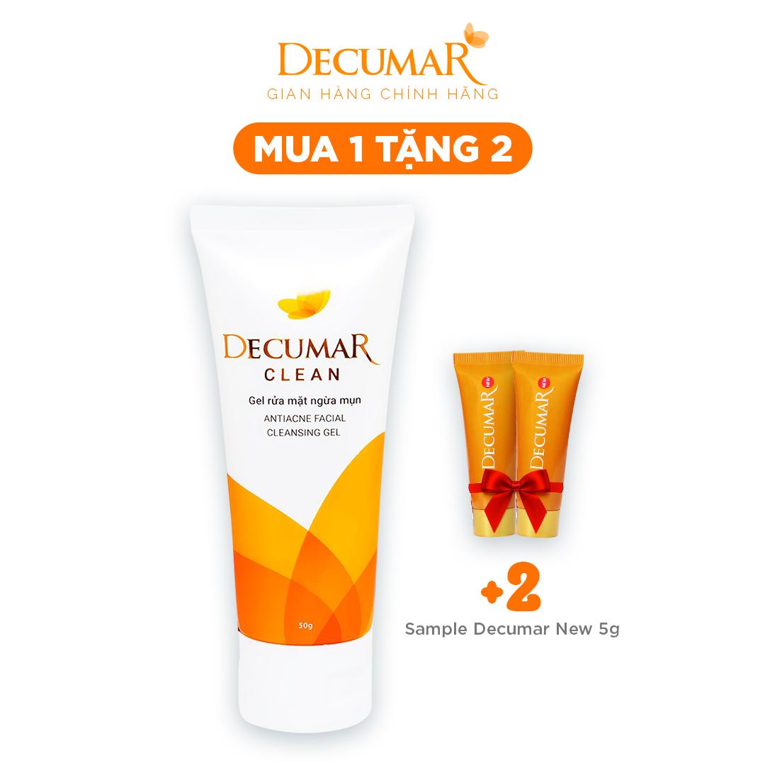 (Có quà tặng kèm)-Sữa rửa mặt dạng Gel ngừa mụn Decumar Clean 50gr kiểm soát dầu Sáng da, chiết xuất lá Neem và Vitamin E, giúp làm sạch nhẹ nhàng, ngăn ngừa vi khuẩn gây mụn - Tặng 2 Decumar 5gr Nano Nghệ ngừa các loại mụn