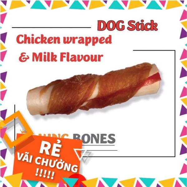[KINGBONE] Xương da bọc thịt gà hương sữa giúp trắng răng và canxi - NHẬP KHẨU CHÂU ÂU - Túi 4 pcs