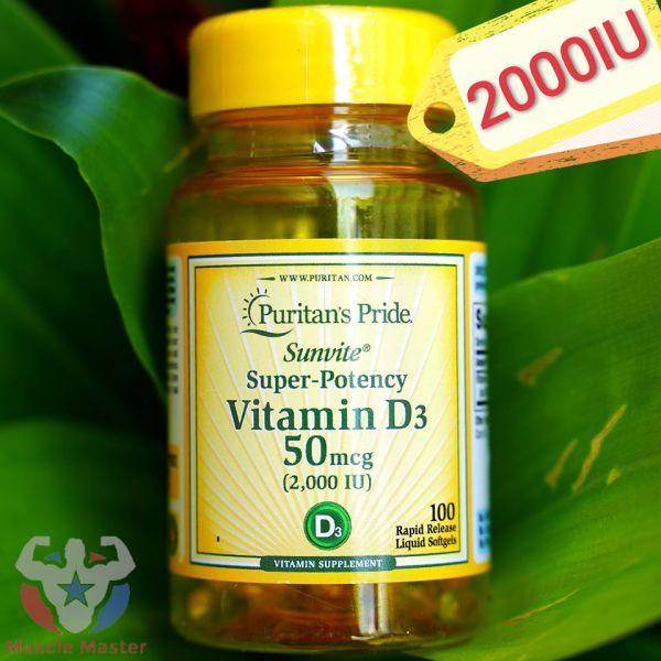 Viên Bổ Sung Vitamin D3 Tăng Hệ Miễn Dịch Puritans Pride Vitamin D3 2000iu 100 Viên