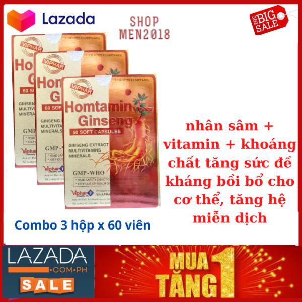 Combo 3 hộp HOMFAMIN GINSENG NHÂM SÂM - Tăng Cường Bồi Bổ Sức Khỏe- Hộp 60 Viên giá rẻ