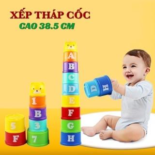 Đồ chơi trẻ em thông minh cốc xếp chồng 9 tầng cao 39 cm cho bé học phân biệt màu sắc, số chữ và so sánh cao thấp lớn bé thumbnail