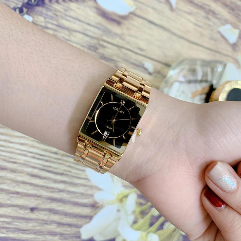 Đồng hồ Nữ Halei 564 - Vuông - dây thép không gỉ ( HL564 Dây Vàng ) - TẶNG 1 vòng tỳ hưu phong thuỷ + Pin Nhật