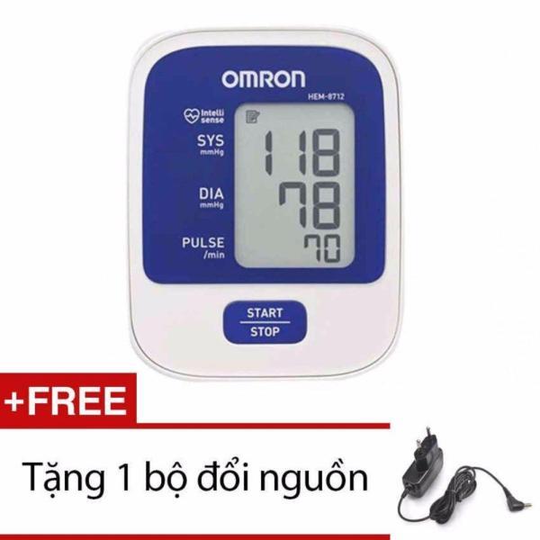 Máy đo huyết áp bắp tay Omron Hem 8712 (Trắng phối xanh) + Tặng bộ đổi nguồn
