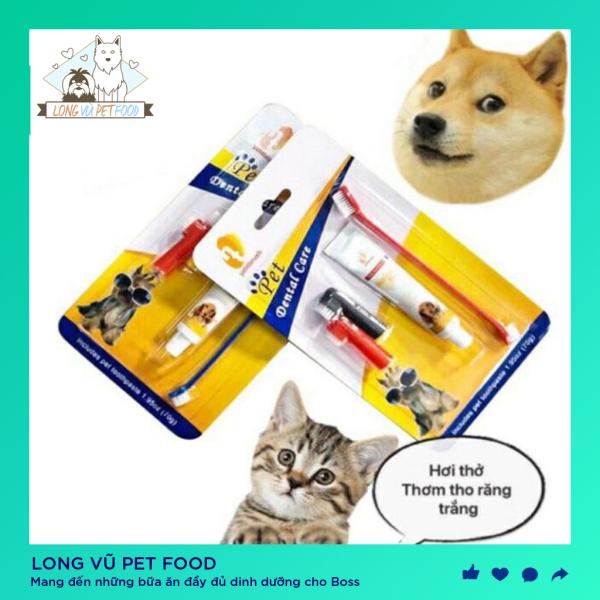 Bộ kem đánh răng cho chó mèo cao cấp - Long Vũ Pet Food