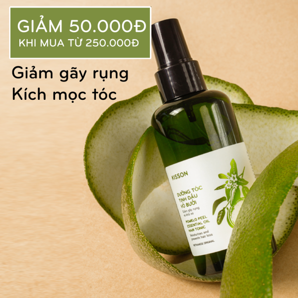 Xịt dưỡng tóc chiết xuất từ tinh dầu vỏ bưởi giúp ngăn ngừa rụng tóc và kích mọc tóc nhanh KISSON 145ml