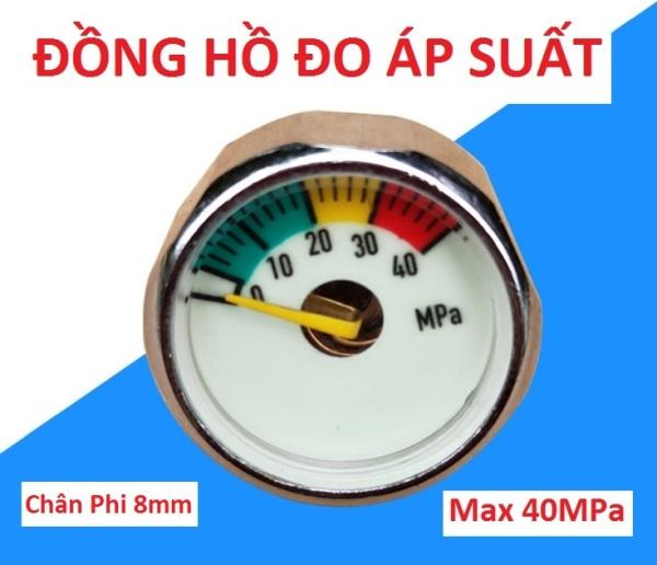 Đồng hồ đo áp suất khí ném 40mpa chân 8, hàng cao cấp, độ bền cao - đồng hồ áp chân ren phi 8mm, ( pkb )