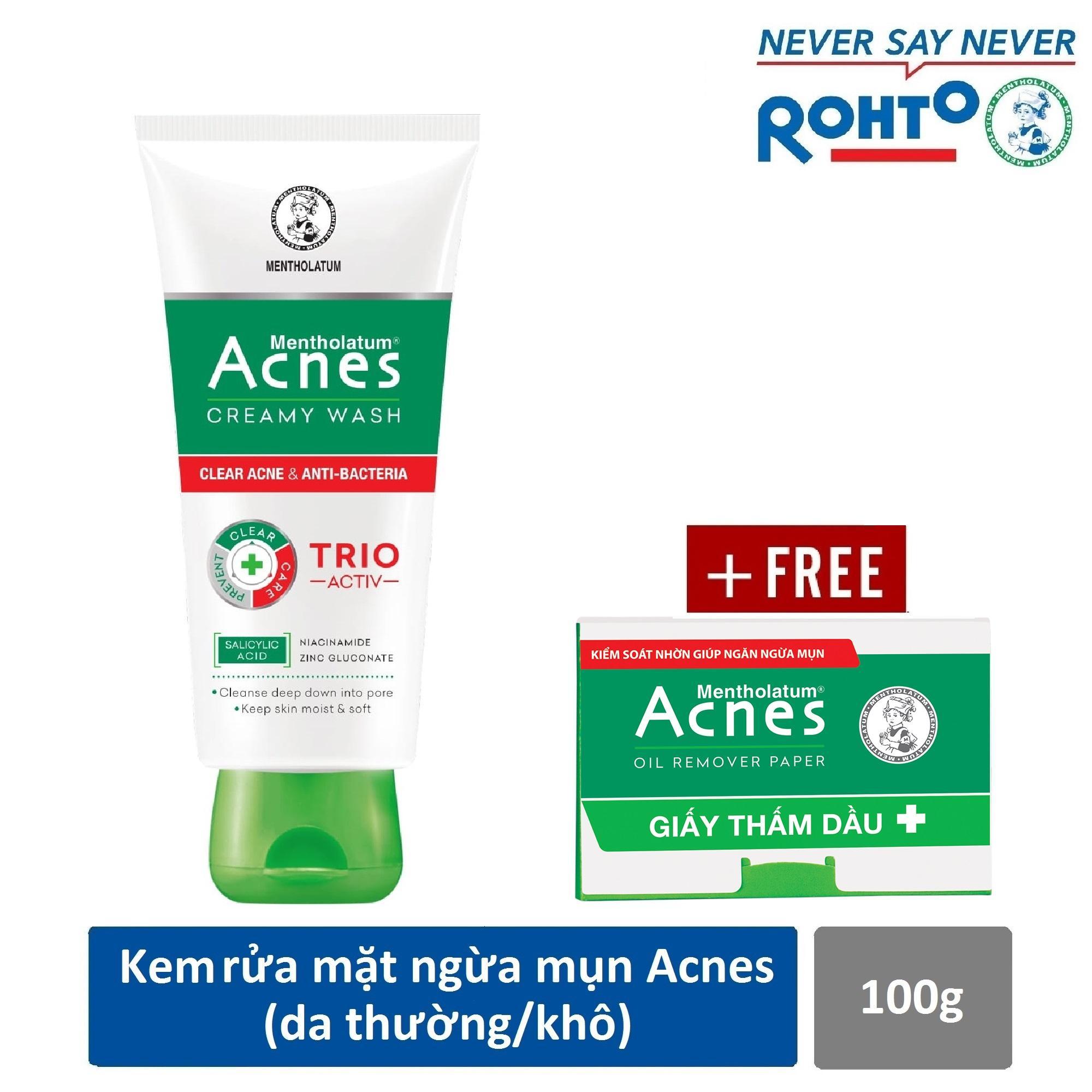 Sữa rửa mặt ngăn ngừa mụn Acnes Creamy Wash 100g + Tặng Giấy thấm dầu Acnes Oil Remover 50 tờ cao cấp