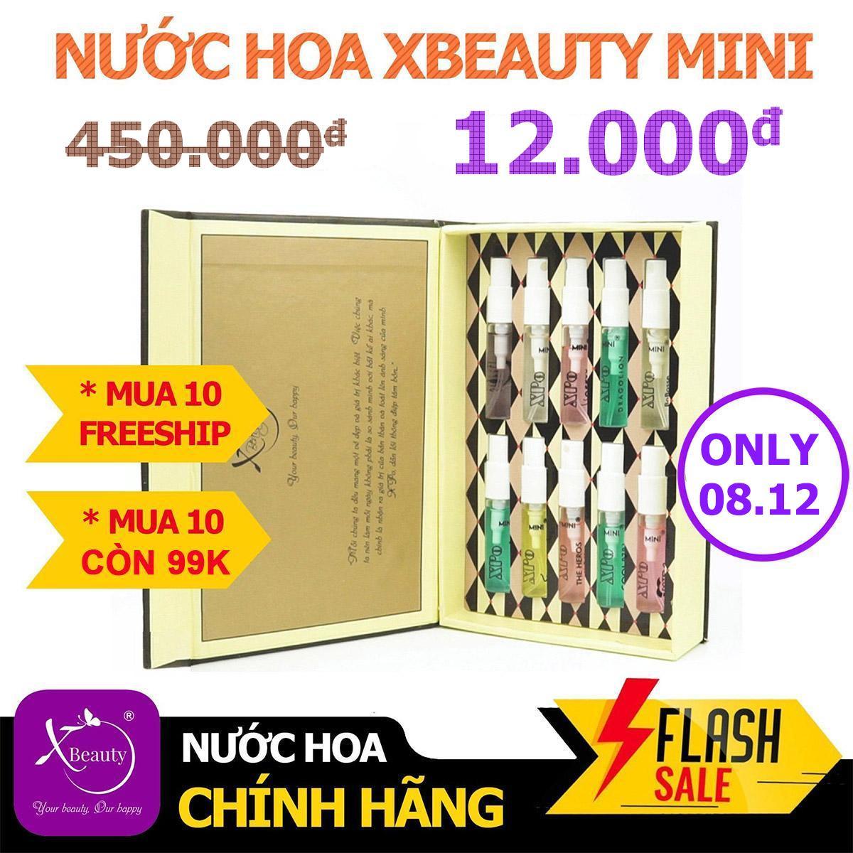 Bộ Combo Nước hoa Nam Nữ XBeauty XPo3 Mini (Tùy chọn 10 Mùi hương) + Voucher mua sắm 350.000đ. Nước hoa Mini cô đặc dành cho Nam và Nữ lưu hương lâu đến 12 tiếng. Mua Một Mùi Là Một Chai 4ML. Mua 10 mùi sẽ được gói trong hộp vàng như ảnh bìa.